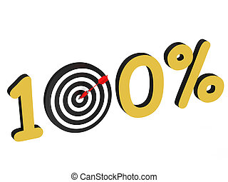 The number 100 percent with target isolated on white...