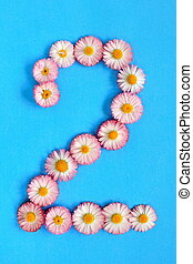 The number 2 is written in white pink flowers on a blue background.