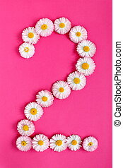 The number 2 is written in white pink flowers on a bright pink background