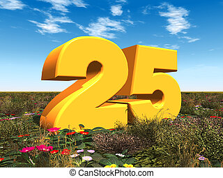 The Number 25 - Computer generated 3D illustration with the...
