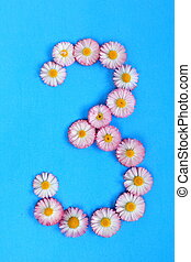 The number 3 is written in white pink flowers on a blue background.