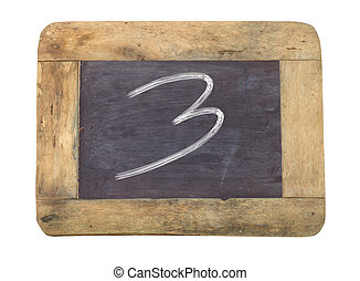 """The number """"3"""" written with white on a blackboard"""