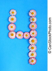 The number 4 is written in white pink flowers on a blue background