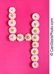 The number 4 is written in white pink flowers on a bright pink background