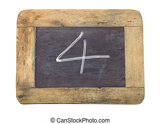 """The number """"4"""" written with white on a blackboard"""