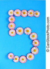 The number 5 is written in white pink flowers on a blue background.