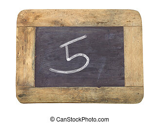 """The number """"5"""" written with white on a blackboard"""