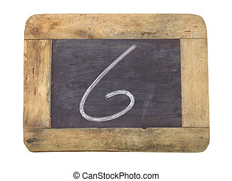 """The number """"6"""" written with white on a blackboard"""