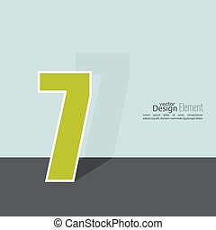 The number 7. seven. abstract background. Outline. Logo or...