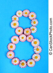 The number 8 is written in white pink flowers on a blue background