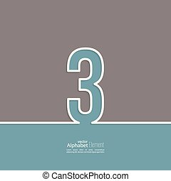 The number 3. three. abstract background. Outline. Logo or corporate identity