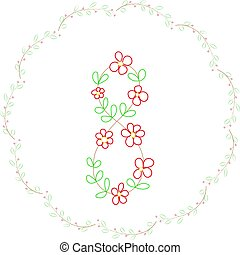 The number eight and a wreath of flowers  .