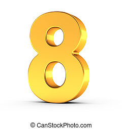 The number eight as a polished golden object with clipping path