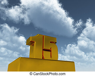 the number fifteen - 15 - in front of blue sky - 3d illustration