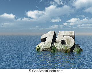 the number fifteen at the ocean - 3d illustration