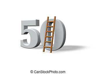 number fifty - the number fifty - 50 - and a ladder on white...