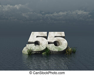 fifty five - the number fifty five at the ocean - 3d ...