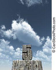 five - the number five - 5 - in front of blue sky - 3d...