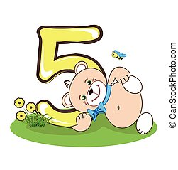 The number five and cheerful bear