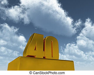 forty - the number forty - 40 - in front of blue sky - 3d ...