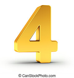 The number four as a polished golden object with clipping path