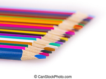 The number of colored pencils on a white background