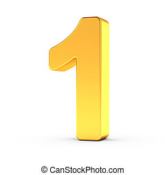 The number one as a polished golden object with clipping path
