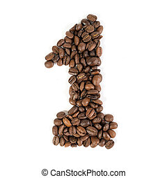 """The number """"one"""" from roasted coffee beans"""