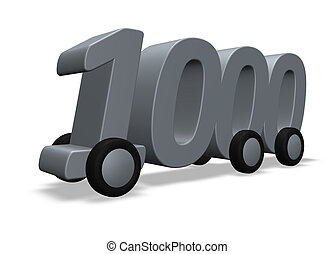 the number one thousand on wheels - 3d illustration