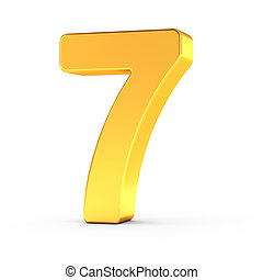 The number seven as a polished golden object with clipping path