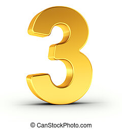 The number three as a polished golden object with clipping path