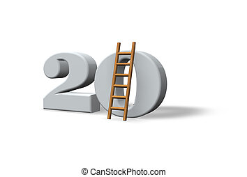 twenty - the number twenty - 20 - and a ladder on white...