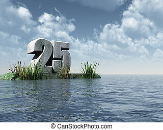 twenty five - the number twenty five - 25 - at the ocean -...