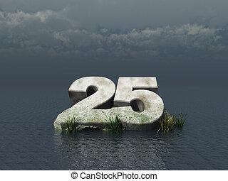 twenty five - the number twenty five at the ocean - 3d ...