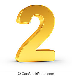 The number two as a polished golden object with clipping path