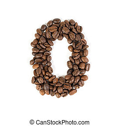 The number zero from roasted coffee beans. White background.