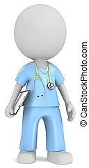 Dude the Nurse with stethoscope holding clipboard.