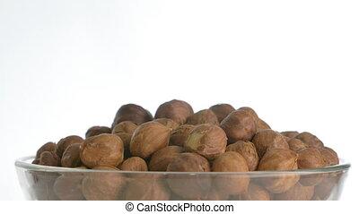 The nut hazelnut rotates on the turntable.