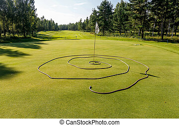 The Obstacle on the green in a golf competition