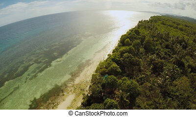 The ocean coast with beautiful coral reefs and views. Aerial view.