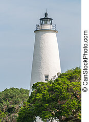 the, ocracoke, 灯塔, 同时,, keeper's, 住处, 在上, ocracoke, 岛