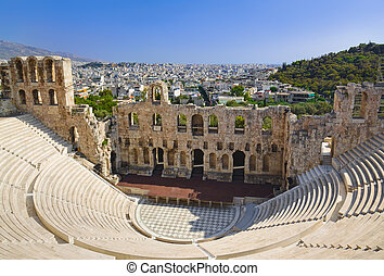 The Odeon theatre at Athens, Greece - view from Acropolis