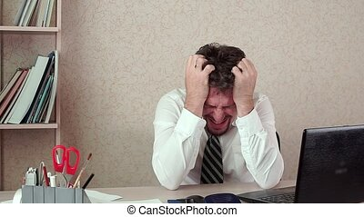 The office Manager was man, a bad headache. He was tired of long work
