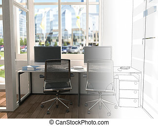 The office space is divided into two parts by an imaginary...