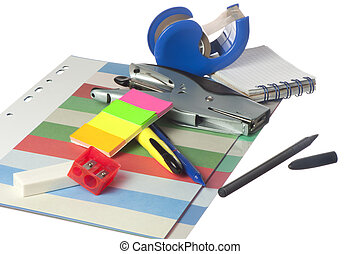 the office stationery on a white background
