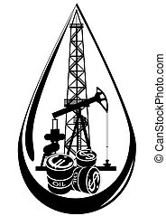 The oil business - Oil and gas industry. Black and white ...