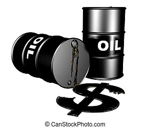 Oil drums and a dollar symbol of leaking oil representing the burden on the dollar by the oil markets