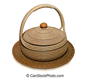 The Old basket made of bamboo isolated on white background