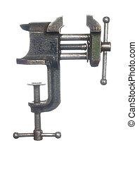 The old bench vise, isolated on a white background.