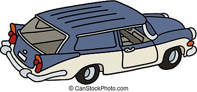 The old blue and white station wagon